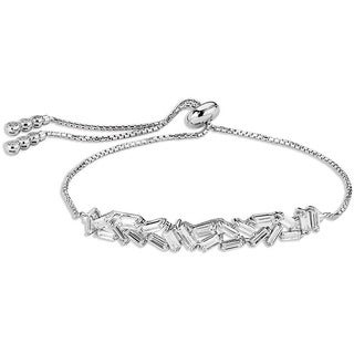 Sterling Silverplated Cubic Zirconia Adjustable Bracelet