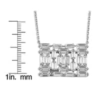 Sterling Silverplated Cubic Zirconia Rectangle Necklace