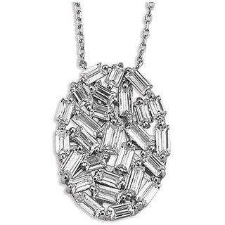 Sterling Silverplated Cubic Zirconia Baguette Oval Necklace
