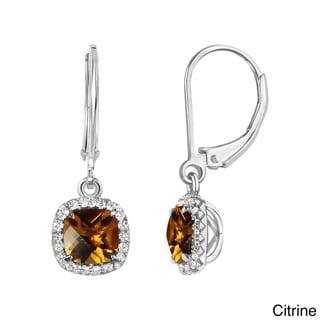 Sterling Silver Checkerboard Cushion Gemstone Leverback Dangle Earrings