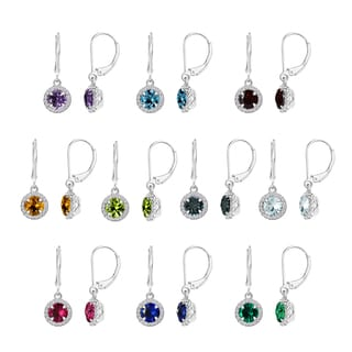 Sterling Silver Round Gemstone and Halo Dangle Earrings