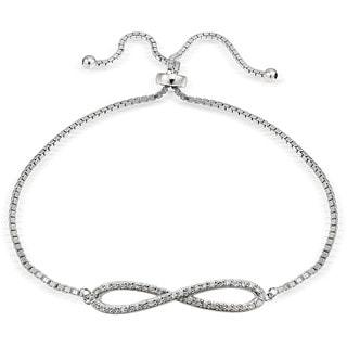 Icz Stonez Silver Cubic Zirconia Infinity Adjustable Slider Bracelet