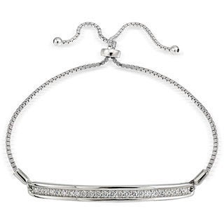 Icz Stonez Silver Cubic Zirconia Bar Adjustable Slider Bracelet