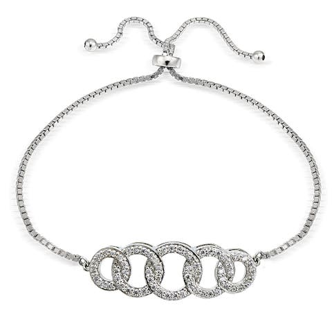 Icz Stonez Silver Cubic Zirconia Intertwining Circle Adjustable Slider Bracelet