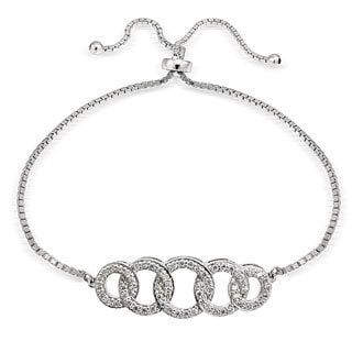 Icz Stonez Silver Cubic Zirconia Intertwining Circle Adjustable Bolo Bracelet