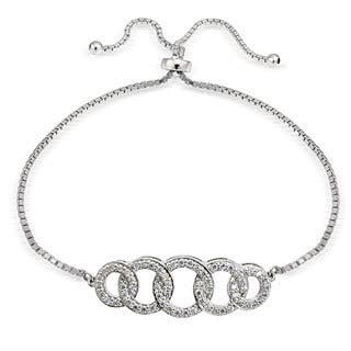 Icz Stonez Silver Cubic Zirconia Intertwining Circle Adjustable Slider Bracelet|https://ak1.ostkcdn.com/images/products/11540242/P18486402.jpg?impolicy=medium