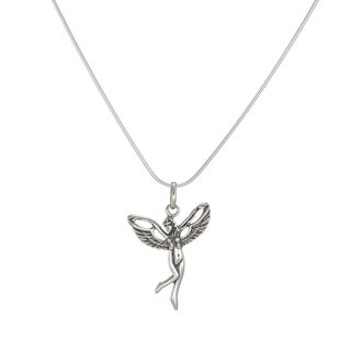 Jewelry by Dawn Antique Silver Fairy Sterling Silver Snake Chain Necklace