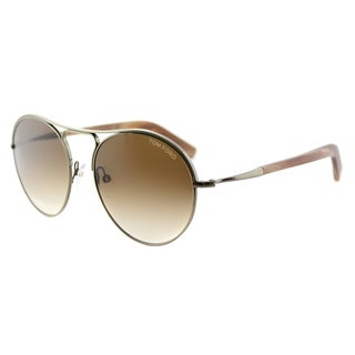 Tom Ford Jessie TF 449 33F Antiqued Gold Round Metal Sunglasses