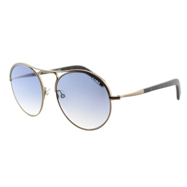 0dc799862bcf Shop Tom Ford Jessie TF 449 37W Antiqued Gold Round Metal Sunglasses ...
