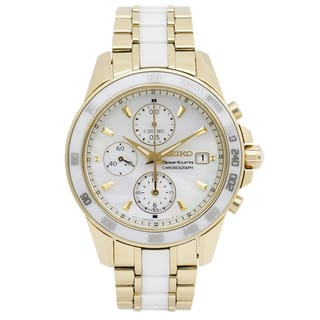 Seiko Women's Goldtone Stainless Steel and White Ceramic SNDX02P1 Sportura Chronograph Mother of Pearl Dial Watch|https://ak1.ostkcdn.com/images/products/11540327/P18486500.jpg?impolicy=medium