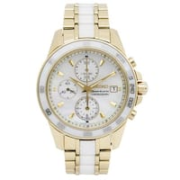 Seiko Women's Goldtone Stainless Steel and White Ceramic SNDX02P1 Sportura Chronograph Mother of Pearl Dial Watch