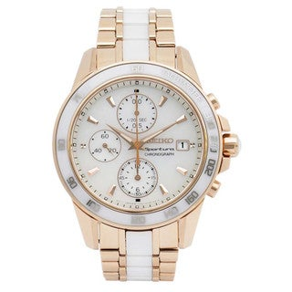 Seiko Women's Rose Goldtone Stainless Steel and White Ceramic SNDW98P1 Chronograph Watch