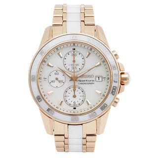 Seiko Women's Rose Goldtone Stainless Steel and White Ceramic SNDW98P1 Chronograph Watch|https://ak1.ostkcdn.com/images/products/11540330/P18486501.jpg?impolicy=medium