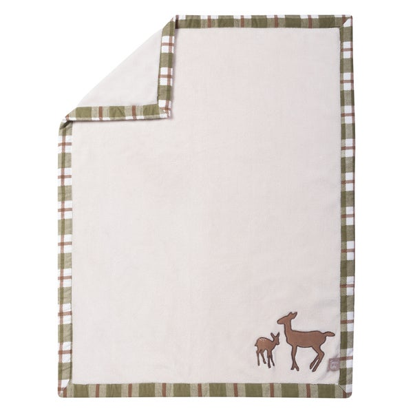 Trend Lab Deer Lodge Framed Coral Fleece Baby Blanket