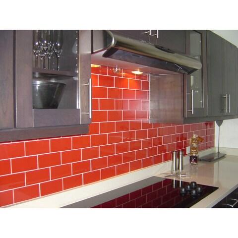 Modwalls Lush 3x6 Tomato Red Glass Subway Tile