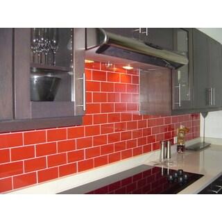 Lush Tomato Red Glass 3x6 Lush Subway Tile