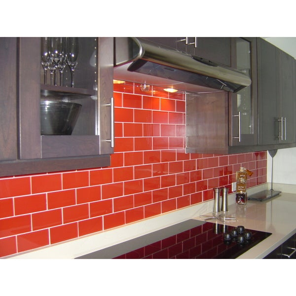 Charmant Shop Modwalls Lush 3x6 Tomato Red Glass Subway Tile   Free Shipping Today    Overstock   11540350
