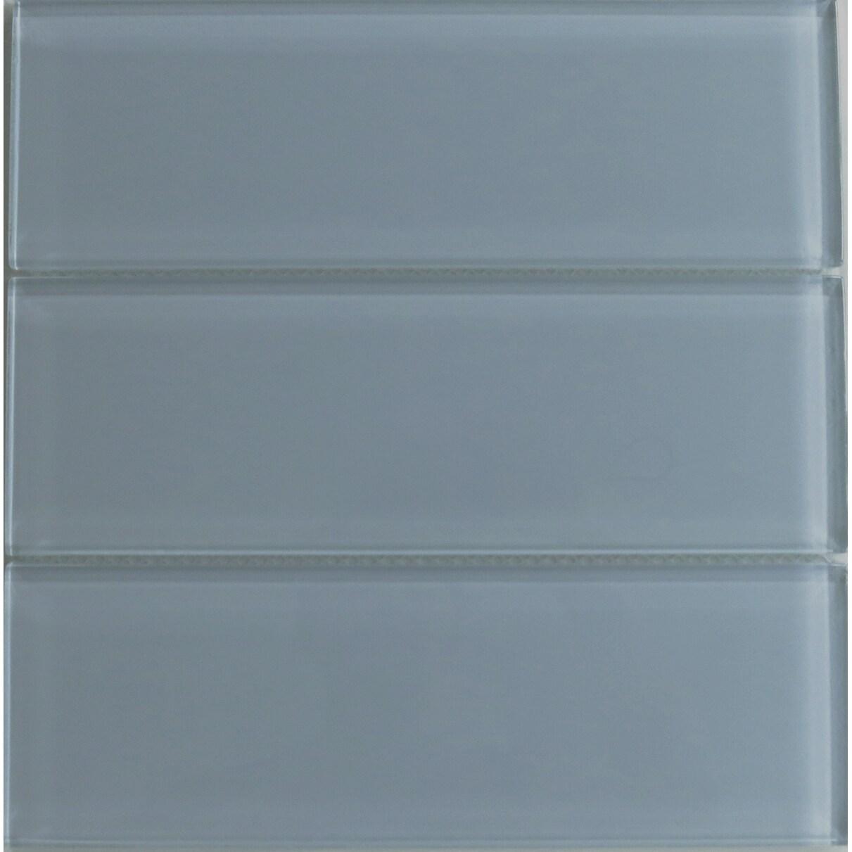 Modwalls Fog Bank Gray 4x12 Lush Glass Subway Tile (Fog B...