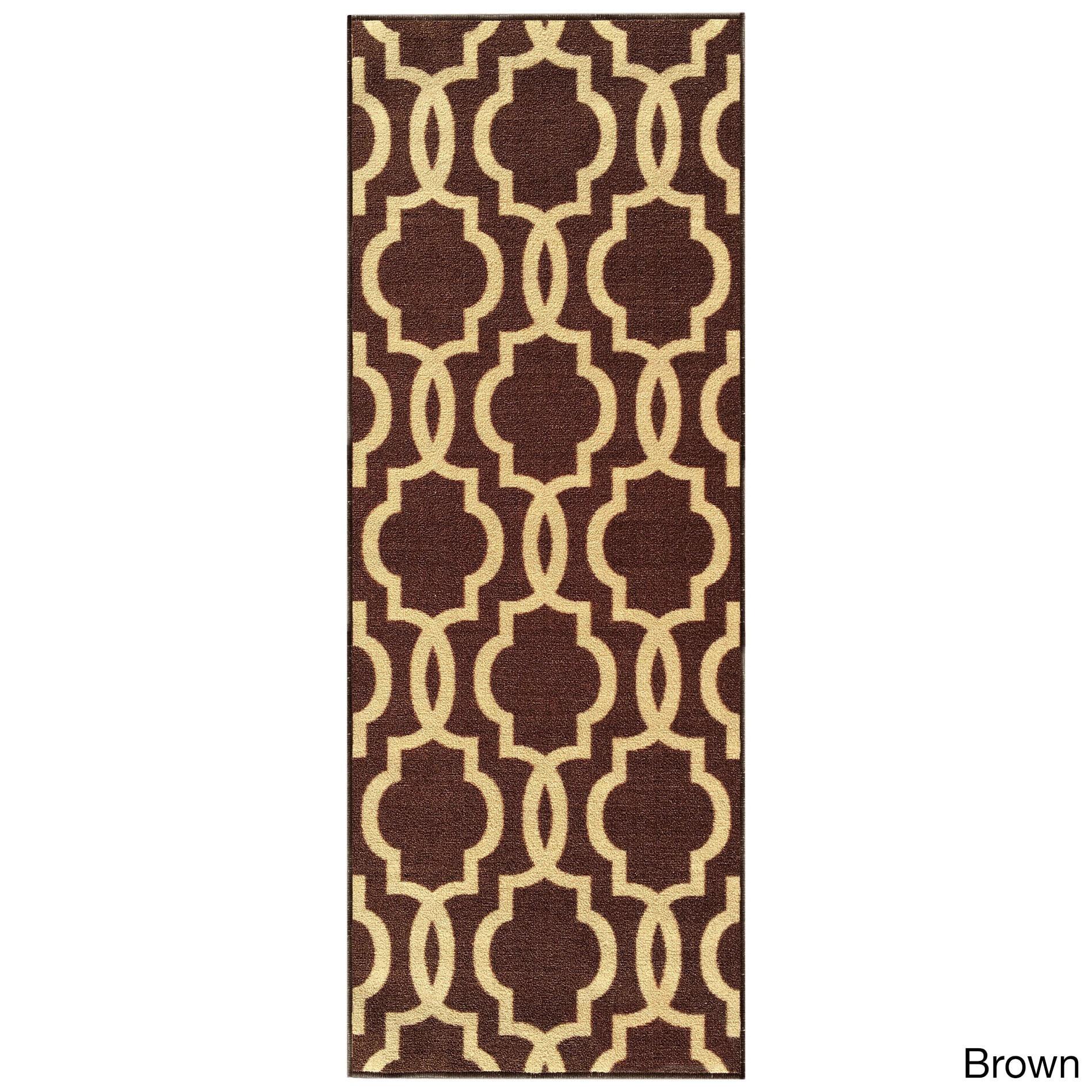 """fancy moroccan trellis non-slip runner rug rubber backed (22"""" x 4"""