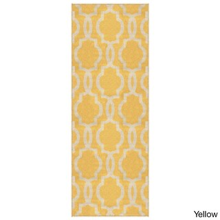Fancy Moroccan Trellis Non-Slip Runner Rug Rubber Backed - 2' x 4'
