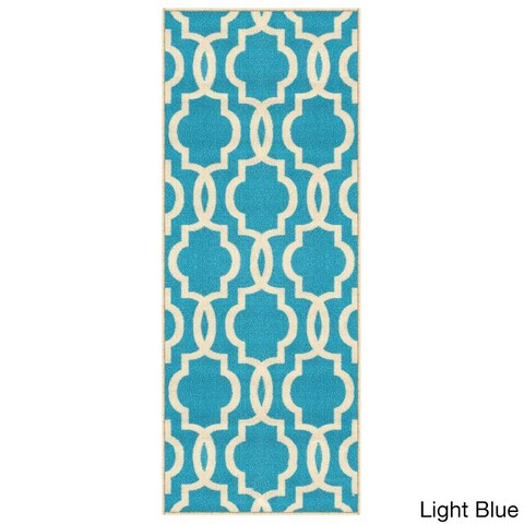 Moroccan Trellis Fancy Nonslip Rubber-backed Runner Rug (1'10 x 4')