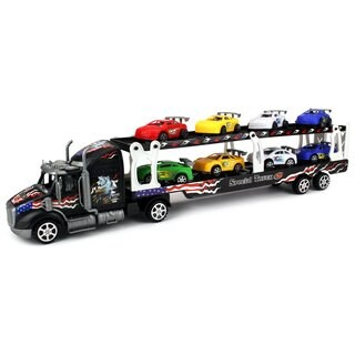 Motorsports Race Car Trailer 1:32 Kid's Friction Toy Truck (Colors May Vary)