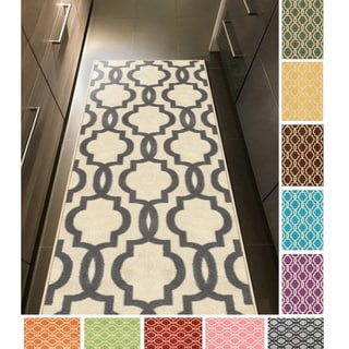 "Fancy Moroccan Trellis Non-Slip Runner Rug Rubber Backed (26"" x 72"")"