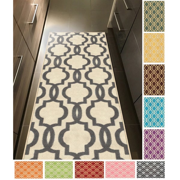 Fancy Moroccan Trellis Non Slip Runner Rug Rubber Backed