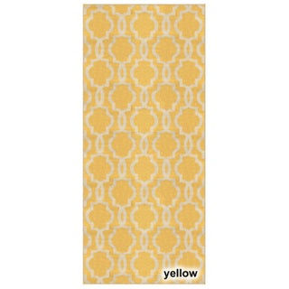 Fancy Moroccan Trellis Non-slip Rubber Backed Runner Rug (2'7 x 10') (Option: Yellow)