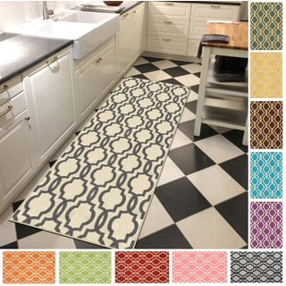 "Fancy Moroccan Trellis Non-Slip Runner Rug Rubber Backed (31"" x 10')"