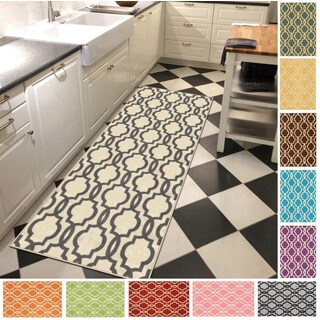 Fancy Moroccan Trellis Non-slip Rubber Backed Runner Rug (2'7 x 10')