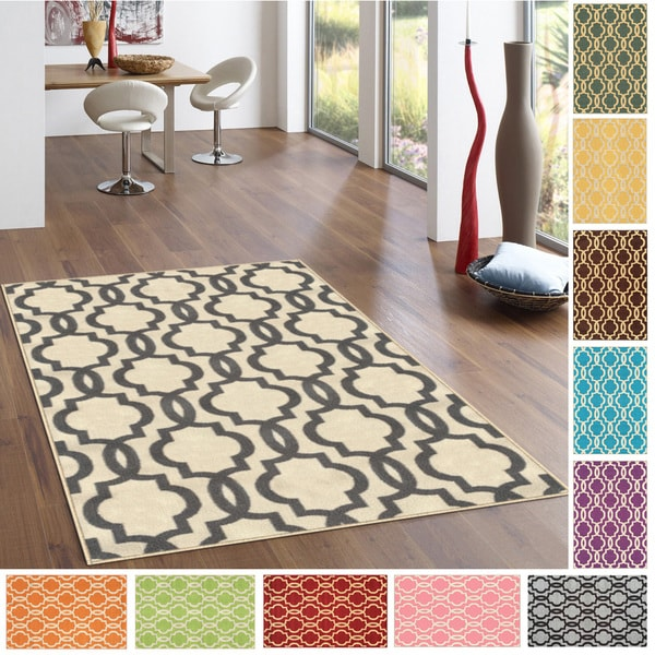 Fancy Moroccan Trellis Non-Slip Area Rug Rubber Backed - 3'4 x 5'