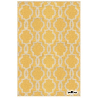 Fancy Moroccan Trellis Non-Slip Area Rug Rubber Backed - 3'4 x 5' (Option: Yellow)