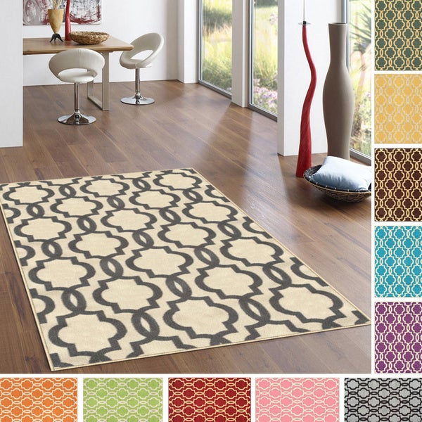 Fancy Moroccan Trellis Rubber-backed Nonslip Area Rug (5' x 6'7)