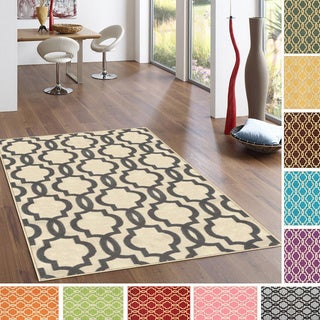 "Fancy Moroccan Trellis Non-Slip Area Rug Rubber Backed (5' x 6'7"")"