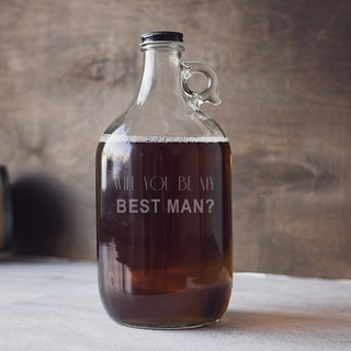 Will You Be My Best Man? 64-ounce Craft Beer Growler