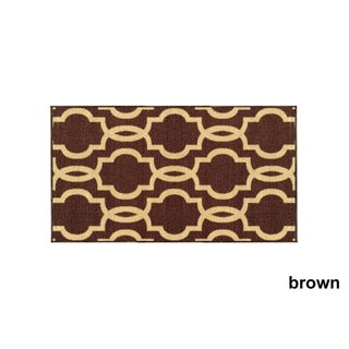 """Fancy Moroccan Trellis Non-Slip Doormat Accent Rug Rubber Backed (18"""" x 31"""") - 18 x 31 (More options available)"""