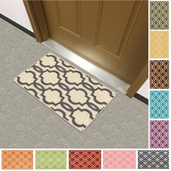 Fancy Moroccan Trellis Non Slip Doormat Accent Rug Rubber
