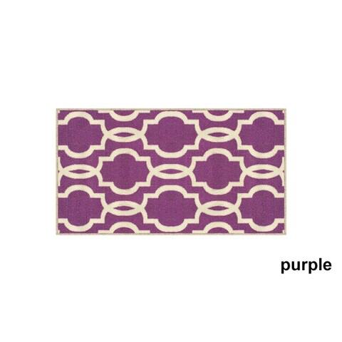 Fancy Moroccan Trellis Non-Slip Doormat Accent Rug Rubber Backed - 18 x 31
