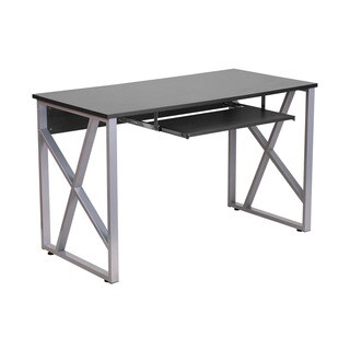 Offex Black Computer Desk with Pullout Keyboard Tray