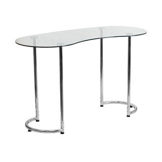 Offex Office Contemporary Desk with Clear Tempered Glass