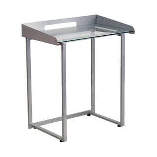 Offex Office Contemporary Desk with Clear Tempered Glass and Silver Frame