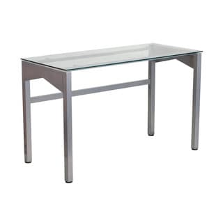 Offex Office Contemporary Desk with Clear Tempered Glass Top (47.25W x 21.75D x 29.25H)