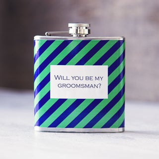 Will You Be My Groomsman? Green on Navy Tie Pattern Flask