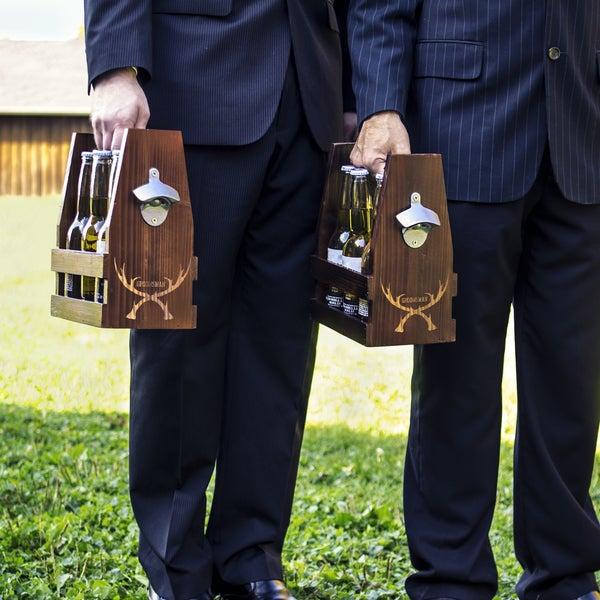 Groomsman Antlers Rustic Craft Beer Carrier with Bottle Opener. Opens flyout.
