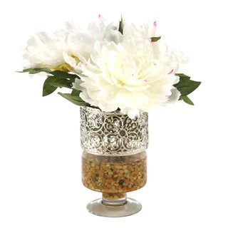 Cream/ Pink Peonies in Glass Pedestal Vase with Metal Collar