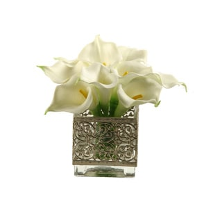 Calla Lilies in Glass Cube with Metal Collar
