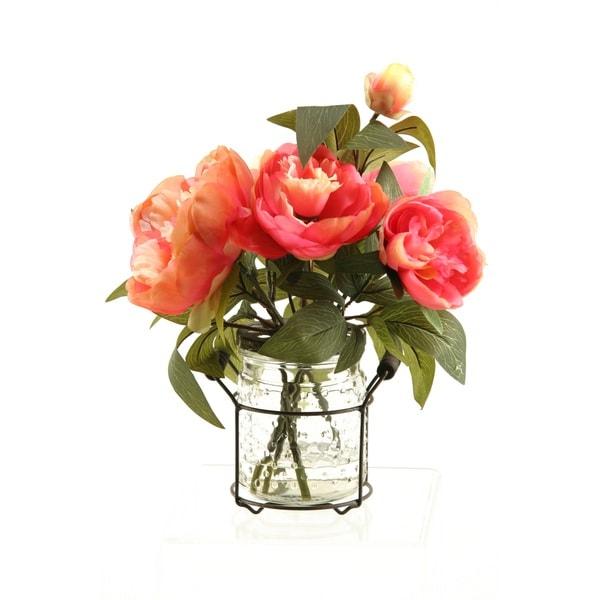 D&W Silks Pink Peonies in Glass Jar with Metal Handle. Opens flyout.