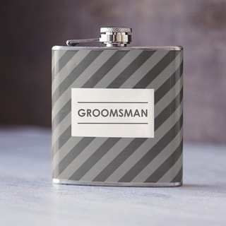 Groomsman Grey on Grey Tie Pattern Flask
