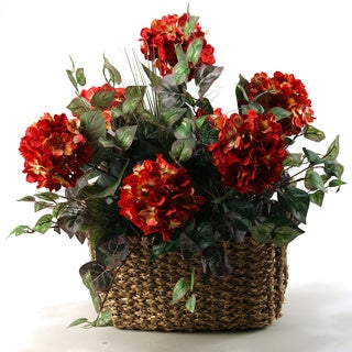 Small Red Hydrangeas in Rectangle Basket with Handles